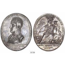 Mexico, large oval silver medal, 1809, Ferdinand VII, Seminario de Antequera, very rare.