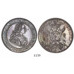 Lima, Peru, peso-sized silver proclamation medal, Charles III, 1760.