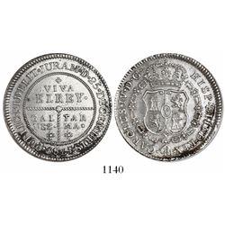 Tarma, Peru, silver proclamation medal, Charles IV, 1789, Galvez.