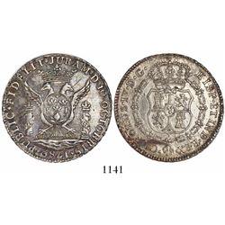 Lima, Peru, 4R-sized silver proclamation medal, Charles IV, 1789.