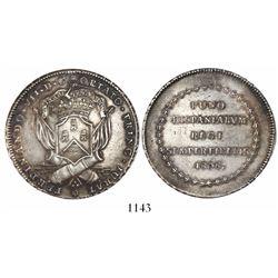 Puno, Peru, 8R-sized silver proclamation medal, Ferdinand VII, 1808, rare.