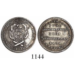 Puno, Peru, 1R-sized silver proclamation medal, Ferdinand VII, 1808, rare.