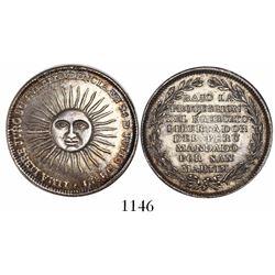 Lima, Peru, half peso-sized silver medal, 1821, Independence / San Martin.