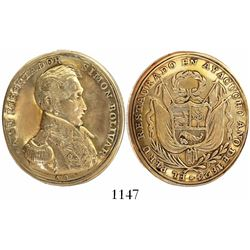 Ayacucho, Peru, oval gold medal, 1824 (struck 1825), Restoration of Peru in Ayacucho by Bolivar, rar