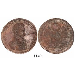 Ayacucho, Peru, copper medal, 1824 (struck 1825), Restoration of Peru in Ayacucho by Bolivar, very r