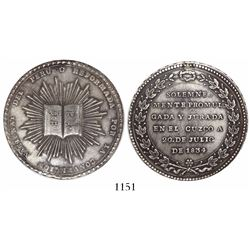 Cuzco, Peru, 8R-sized silver medal, 1834, invocation of the new Constitution.