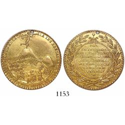 Cuzco, Peru, 8 pesos-sized gold medal, 1839, victory by General and President Agustin Gamarra over t
