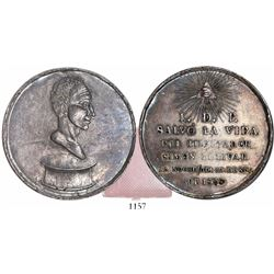 Venezuela, large silver medal, deliverance of Simon Bolivar from assassination in 1828 (struck 1829)