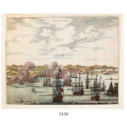 "English copperplate engraving entitled ""Callao de Lima"" from America: Being the Latest, and Most Acc"