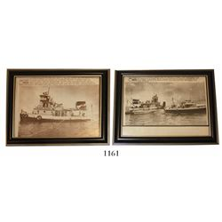 Lot of 2 framed UPI black-and-white photographs from 1975 showing the Treasure Salvors vessel North