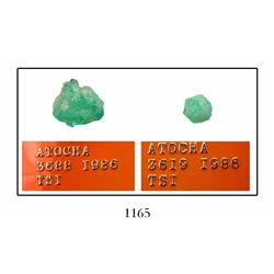 Lot of 2 Atocha natural emeralds (8.09 carats and 2.78 carats).