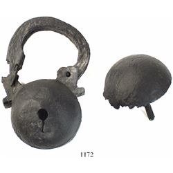 Atocha Iron padlock (two pieces), professionally conserved.
