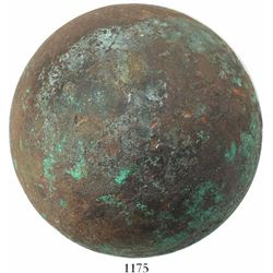 Bronze cannonball, rare. Capitana, sunk in 1654 off Chanduy, Ecuador