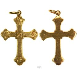 Thick gold cross with engraved pattern on front, one smooth link at top from 1715 Fleet