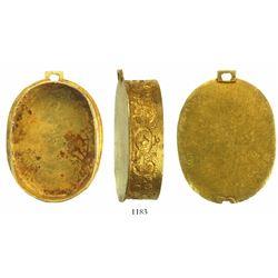 Bottom half of a small, ornate, gold reliquary locket or snuffbox.  1715 Fleet
