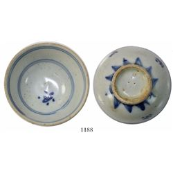 Chinese blue-on-white porcelain teacup, Kangxi, intact, pedigreed to the estate of Kip Wagner.