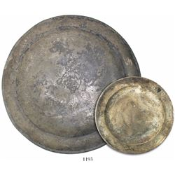 English pewter plate (intact) with maker's mark on bottom.