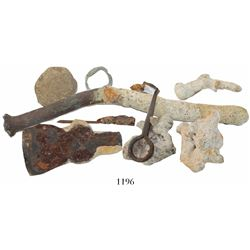Large lot of iron (axe head, nail, ring-pin), brass (hull-pin and buckle), pewter and lead (musketba