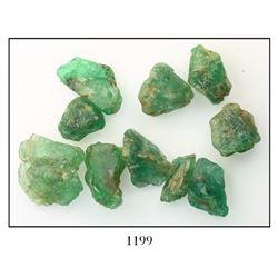 Lot of 10 natural emeralds, 66.6 carats total, ex-Bobby Allison's Sunken Treasure museum.