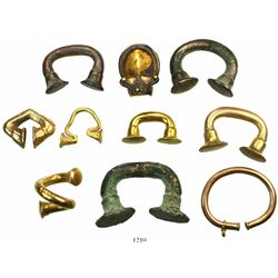 "Lot of 10 pieces of pre-Columbian (Tairona or Sinu) ""tumbaga"" gold, including 9 nose rings and 1 fro"