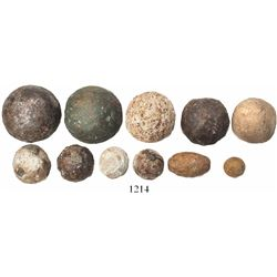 Collection of 11 cannonballs and other small shot, made of iron (some lead-coated), bronze and stone
