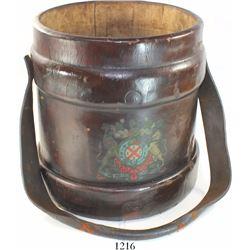 British naval artillery ammunition passbox, leather, 1800s.