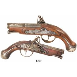 French flintlock gentleman's traveling pistol, 1700s.