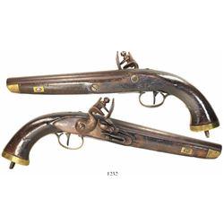 European flintlock sea service pistol made in Liege, Belgium, early 1800s.