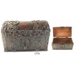 German-Dutch iron-bound wooden money chest, 1700s.