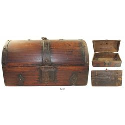 Spanish colonial wooden money chest, 1700s.