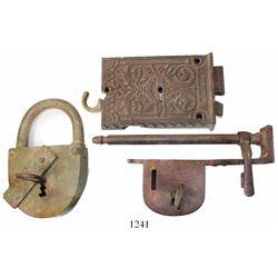 Lot of 3 large iron locks (2 with original keys), ca. 1890s.