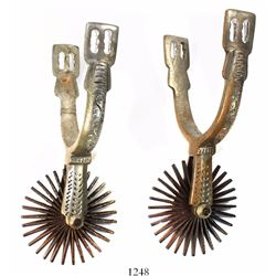 Pair of silvered brass and steel spurs (espuelas), intact, Spanish colonial (1700s), found in Peru.