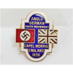 GERMAN ENGLISH NAZI PARTY ENAMELED LAPEL BADGE