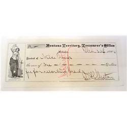 1880 MONTANA TERRITORY TREASURERS OFFICE RECEIPT