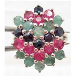 STERLING SILVER EMERALD & RUBY RING - SIZE 6.5