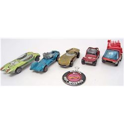 LOT OF 5 VINTAGE RED LINE HOT WHEELS  W/ BUTTON