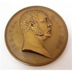 ANTIQUE US PRESIDENT CHESTER A ARTHUR 1881 BRONZE TABLE MEDALLION