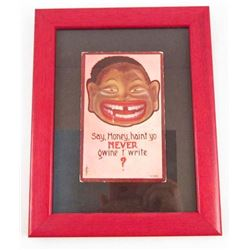 ANTIQUE C. 1910 BLACK AMERICANA POSTCARD - FRAMED