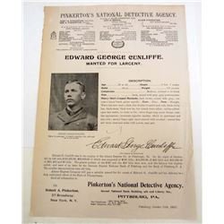 1905 PINKERTON DETECTIVE AGENCY WANTED POSTER FOR LARCENY IN PITTSBURGH, PA