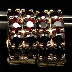 RED GARNET STERLING SILVER GOLD PLATED EARRINGS