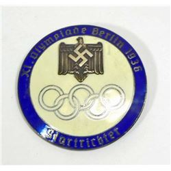 GERMAN NAZI BERLIN SUMMER OLYMPICS STARTER BADGE