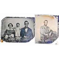 LOT OF 2 ANTIQUE TIN TYPE PHOTOS OF FAMILIES