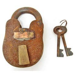 CAST IRON PADLOCK W/ CSA TAG & KEYS