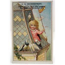 EMBOSSED VICTORIAN TRADE CARD - H.G. SCHWERDTMANN TOYS & GAMES