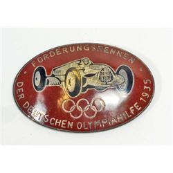 GERMAN NAZI PRE BERLIN SUMMER OLYMPICS RACE CAR BADGE