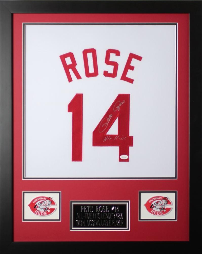 57e1604f4 Image 1   Pete Rose Signed Reds 24x30 Custom Framed Jersey Inscribed