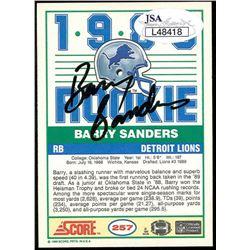 Barry Sanders Signed 1989 Score 257 Rc Jsa Coa