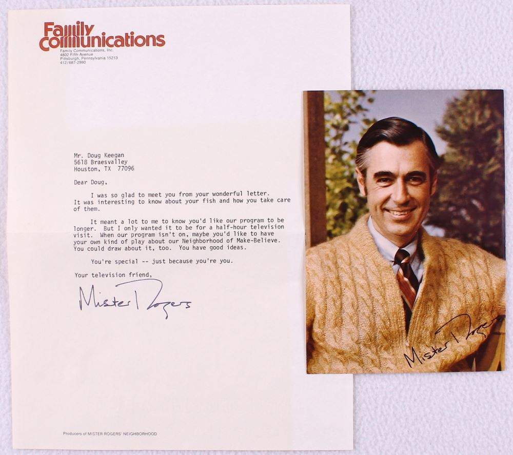 Fred Rogers Signed Mister Rogers Neighborhood 8x11 Typed Letter Jsa Aloa