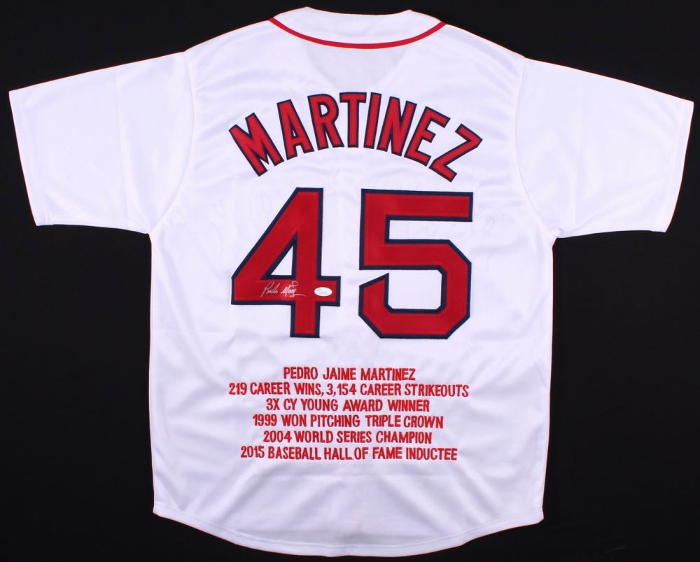 newest 2fdf3 d088b Pedro Martinez Signed Red Sox Career Highlight Stat Jersey ...