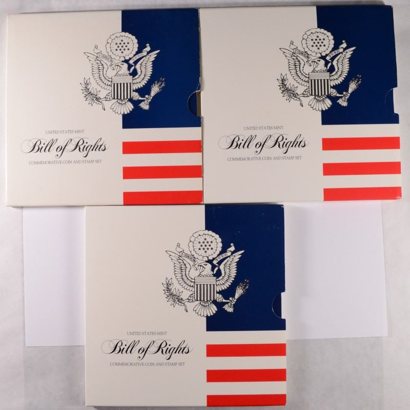 Image 1 3 US MINT BILL OF RIGHTS COIN AND STAMP SET